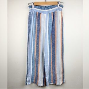 Anthropologie DREW Linen Wide Leg Cropped Pant NWT